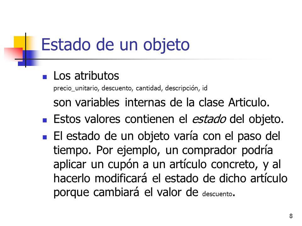 Estado de un objeto Los atributos