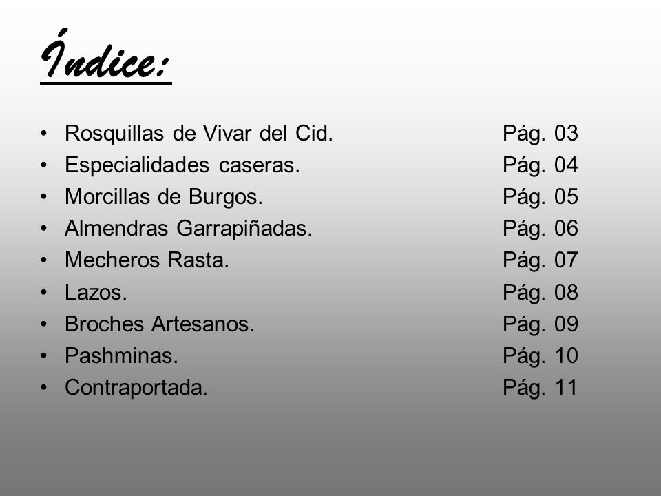 Índice: Rosquillas de Vivar del Cid. Pág. 03
