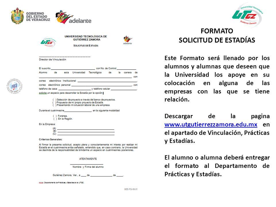 FORMATO SOLICITUD DE ESTADÍAS