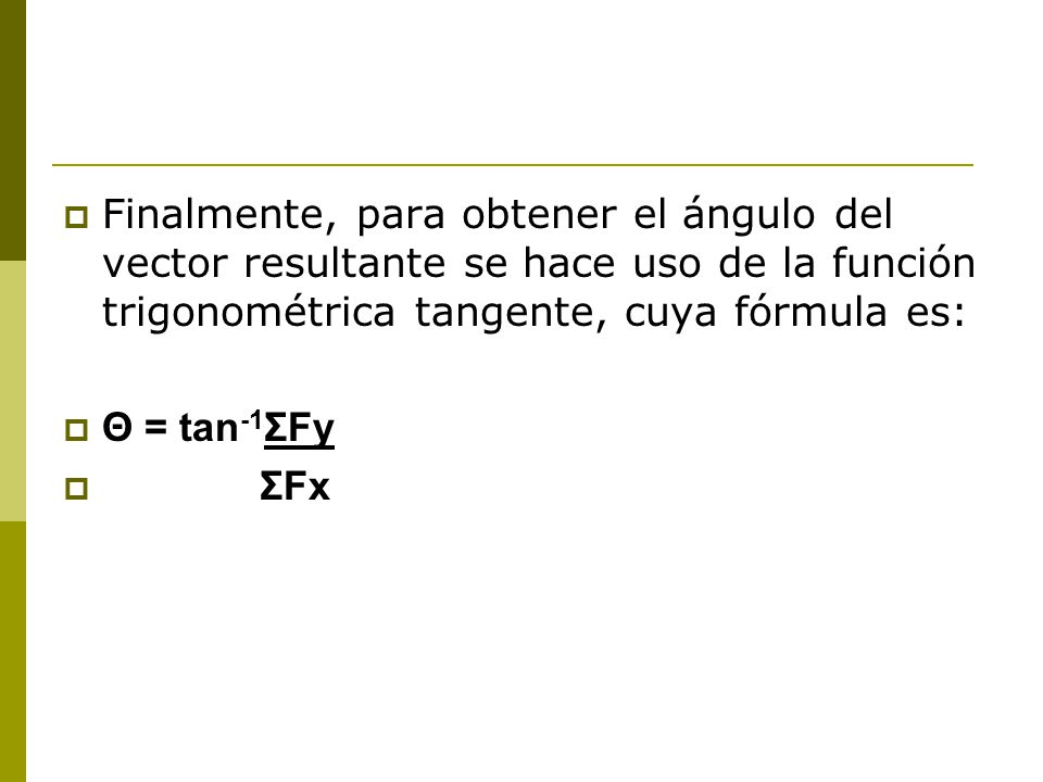 Finalmente, para obtener el ángulo del vector resultante se hace uso de la función trigonométrica tangente, cuya fórmula es: