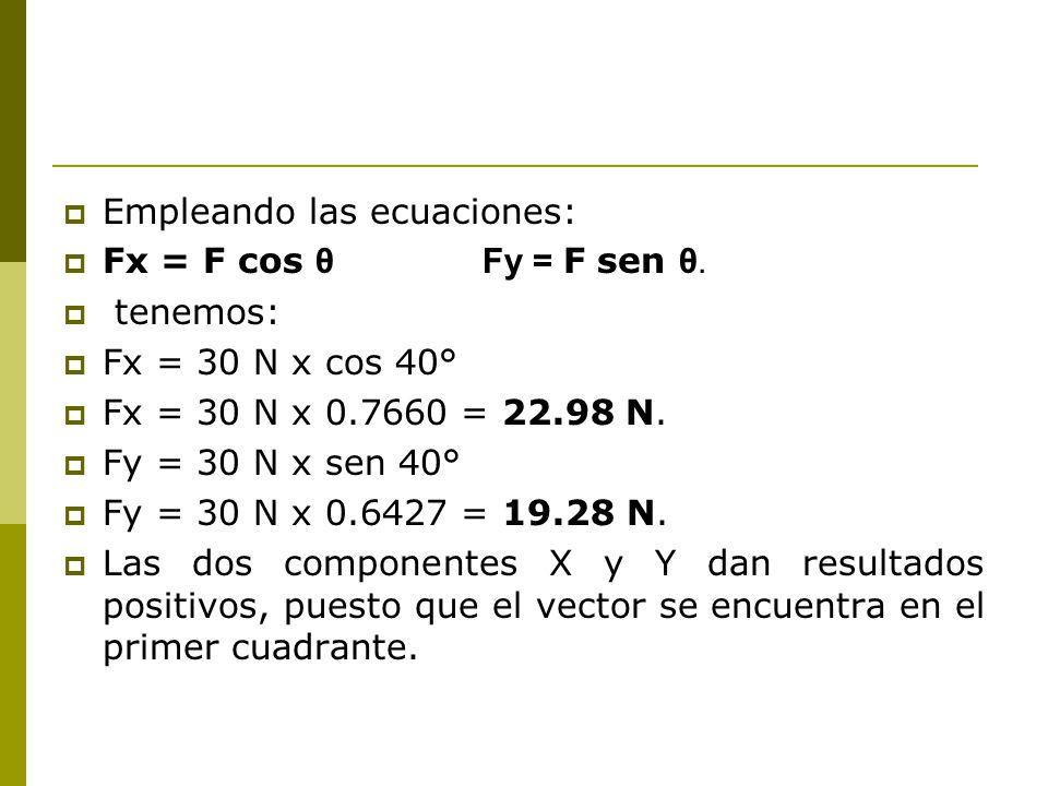 Empleando las ecuaciones: