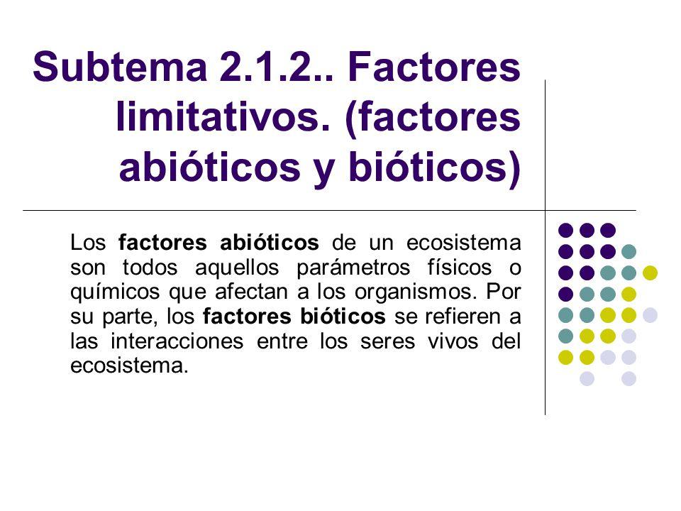 Subtema 2.1.2.. Factores limitativos. (factores abióticos y bióticos)