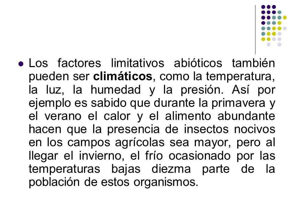 Los factores limitativos abióticos también pueden ser climáticos, como la temperatura, la luz, la humedad y la presión.