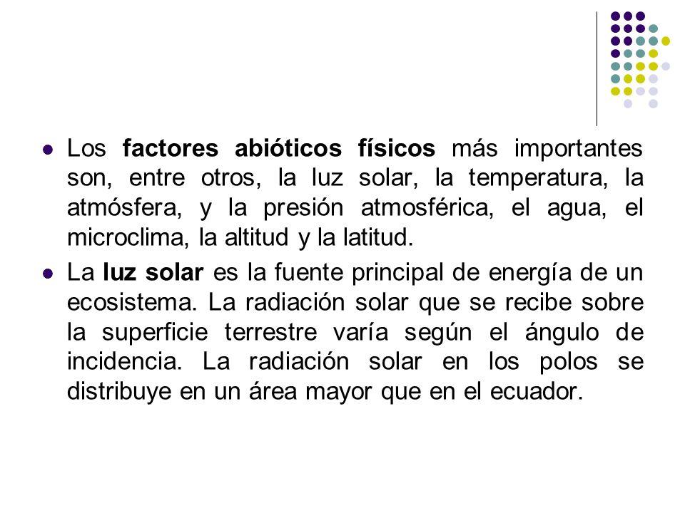 Los factores abióticos físicos más importantes son, entre otros, la luz solar, la temperatura, la atmósfera, y la presión atmosférica, el agua, el microclima, la altitud y la latitud.