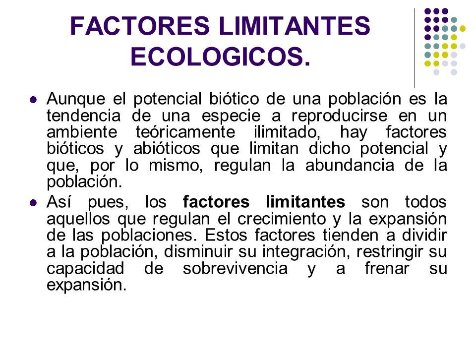 FACTORES LIMITANTES ECOLOGICOS.
