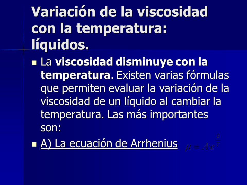 Variación de la viscosidad con la temperatura: líquidos.