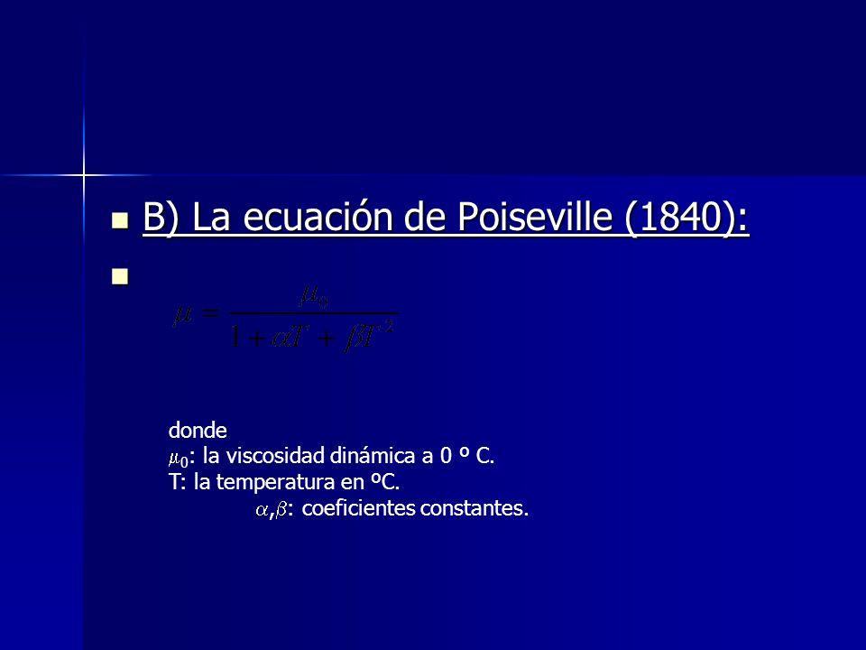 B) La ecuación de Poiseville (1840):