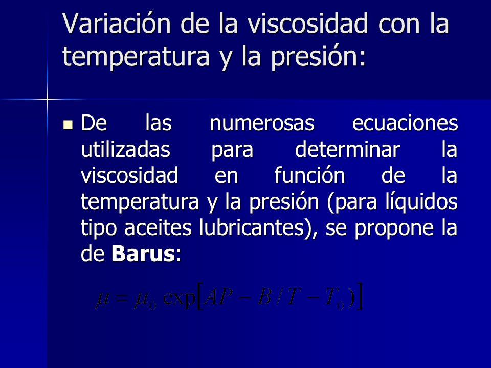 Variación de la viscosidad con la temperatura y la presión: