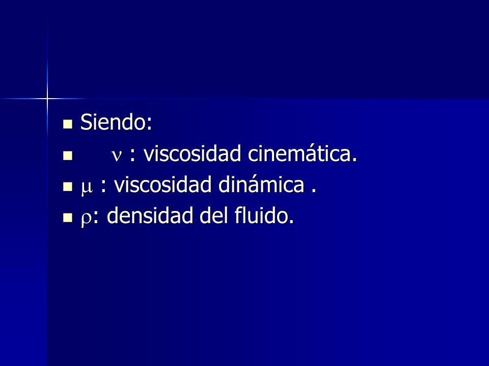 Siendo:  : viscosidad cinemática.  : viscosidad dinámica . : densidad del fluido.