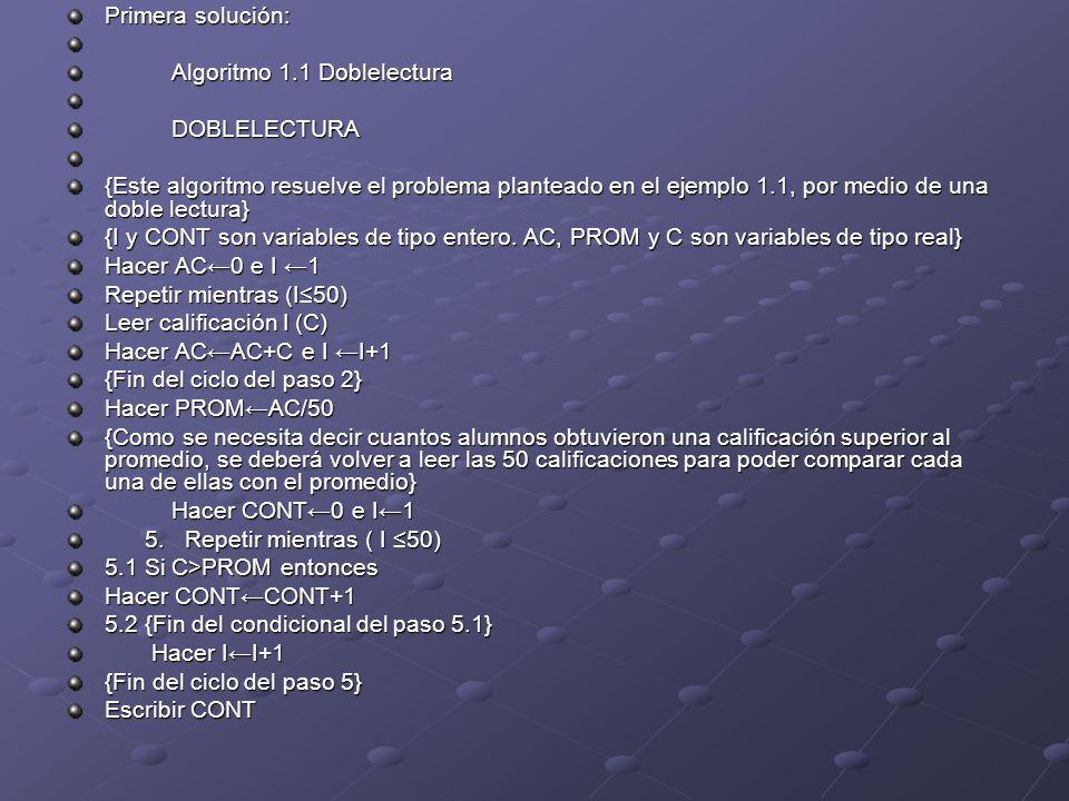 Primera solución: Algoritmo 1.1 Doblelectura. DOBLELECTURA.