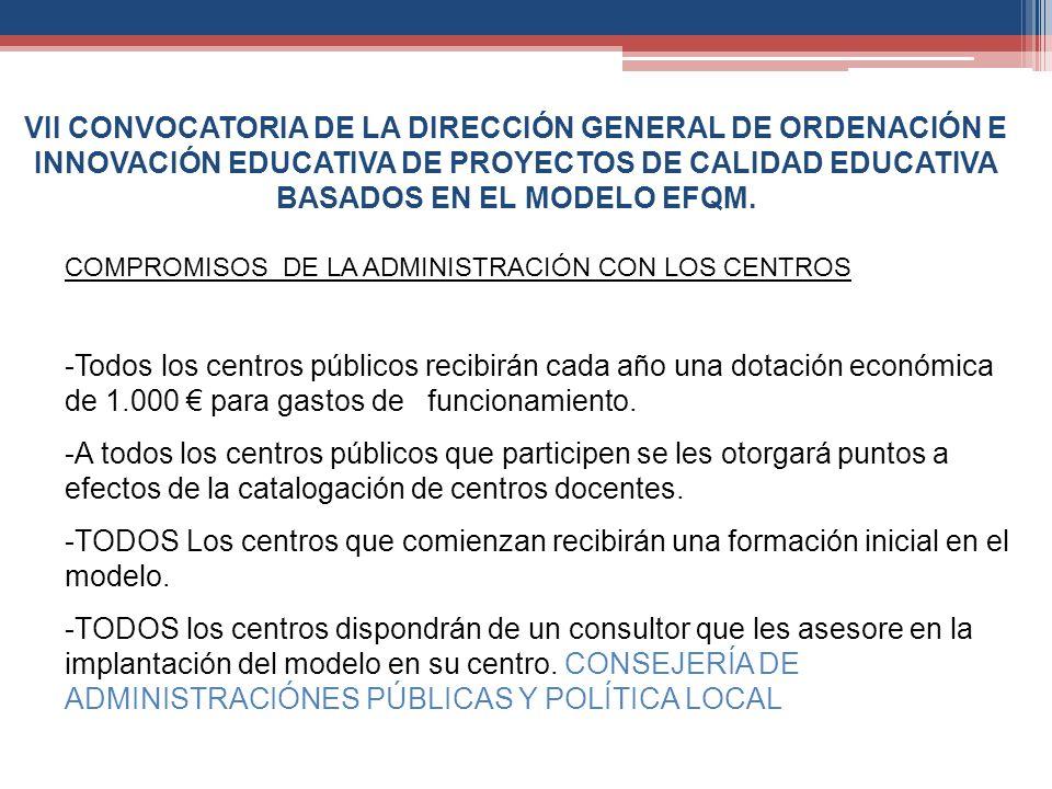 VII CONVOCATORIA DE LA DIRECCIÓN GENERAL DE ORDENACIÓN E INNOVACIÓN EDUCATIVA DE PROYECTOS DE CALIDAD EDUCATIVA BASADOS EN EL MODELO EFQM.