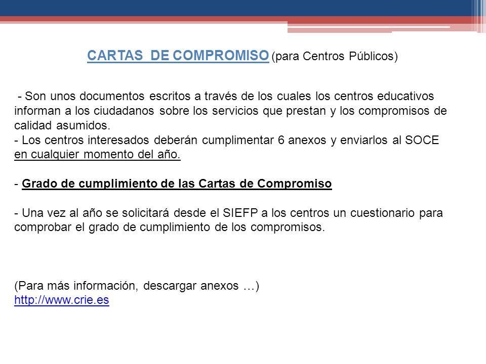 CARTAS DE COMPROMISO (para Centros Públicos)