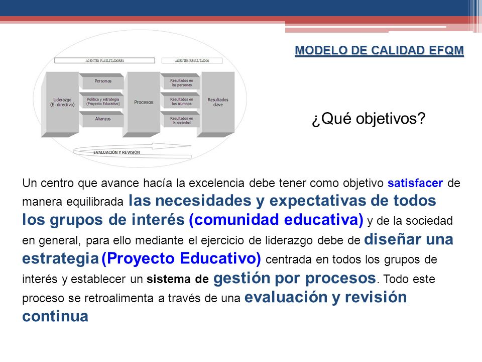 MODELO DE CALIDAD EFQM ¿Qué objetivos