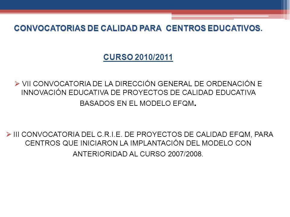 CONVOCATORIAS DE CALIDAD PARA CENTROS EDUCATIVOS.