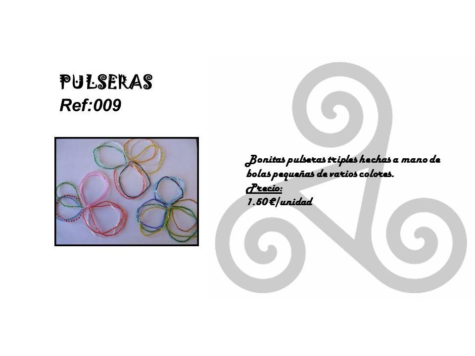 PULSERAS Ref:009. Bonitas pulseras triples hechas a mano de bolas pequeñas de varios colores. Precio: