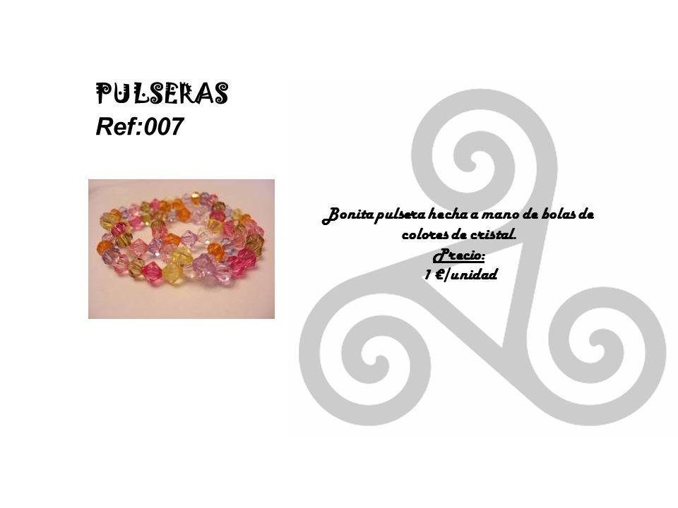 Bonita pulsera hecha a mano de bolas de colores de cristal.
