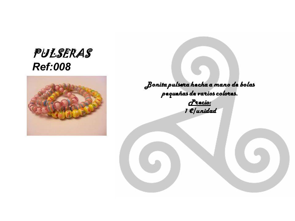 Bonita pulsera hecha a mano de bolas pequeñas de varios colores.