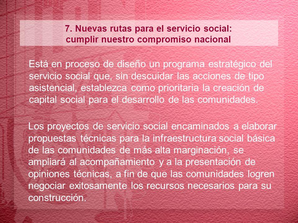 Los proyectos de servicio social encaminados a elaborar