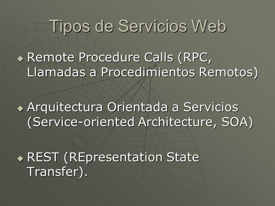 Tipos de Servicios Web Remote Procedure Calls (RPC, Llamadas a Procedimientos Remotos)