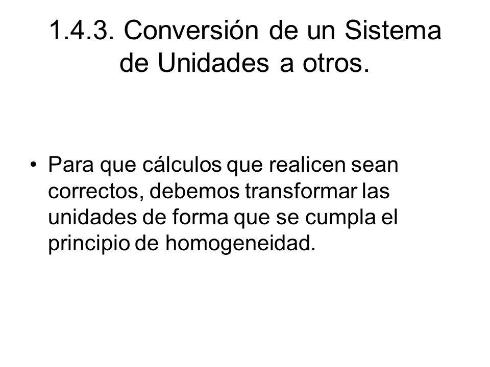 1.4.3. Conversión de un Sistema de Unidades a otros.