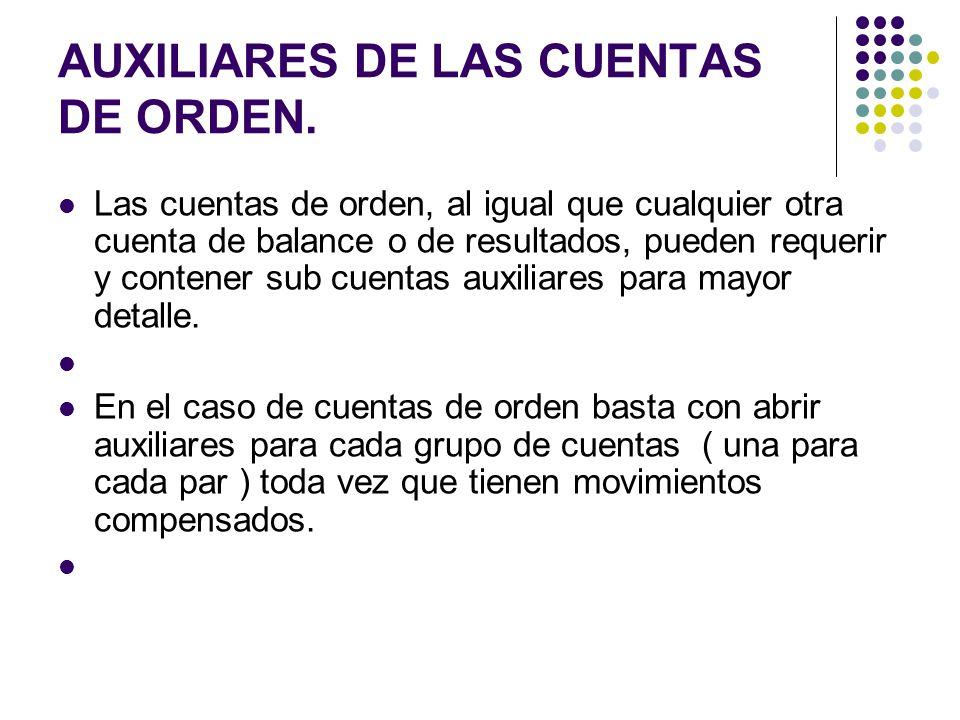 AUXILIARES DE LAS CUENTAS DE ORDEN.