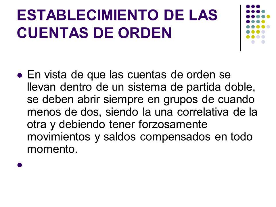 ESTABLECIMIENTO DE LAS CUENTAS DE ORDEN