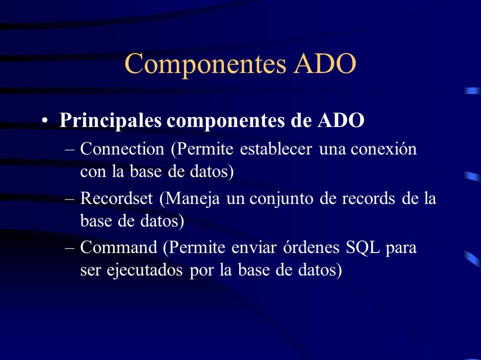 Componentes ADO Principales componentes de ADO
