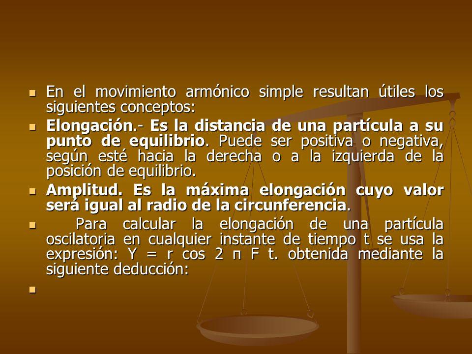 En el movimiento armónico simple resultan útiles los siguientes conceptos: