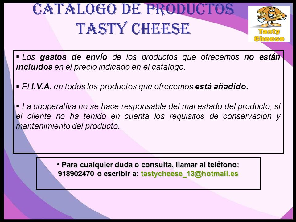 CATALOGO DE PRODUCTOS TASTY CHEESE