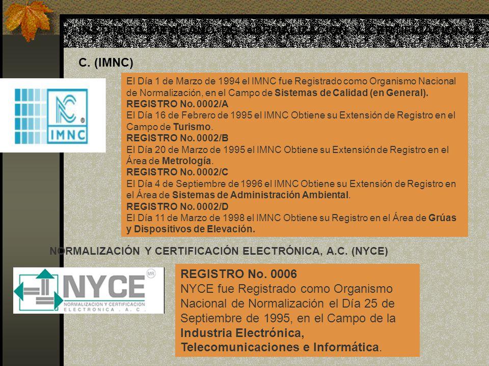 INSTITUTO MEXICANO DE NORMALIZACIÓN Y CERTIFICACIÓN, A. C. (IMNC)