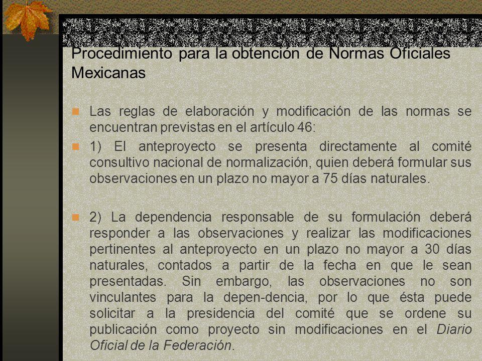 Procedimiento para la obtención de Normas Oficiales Mexicanas