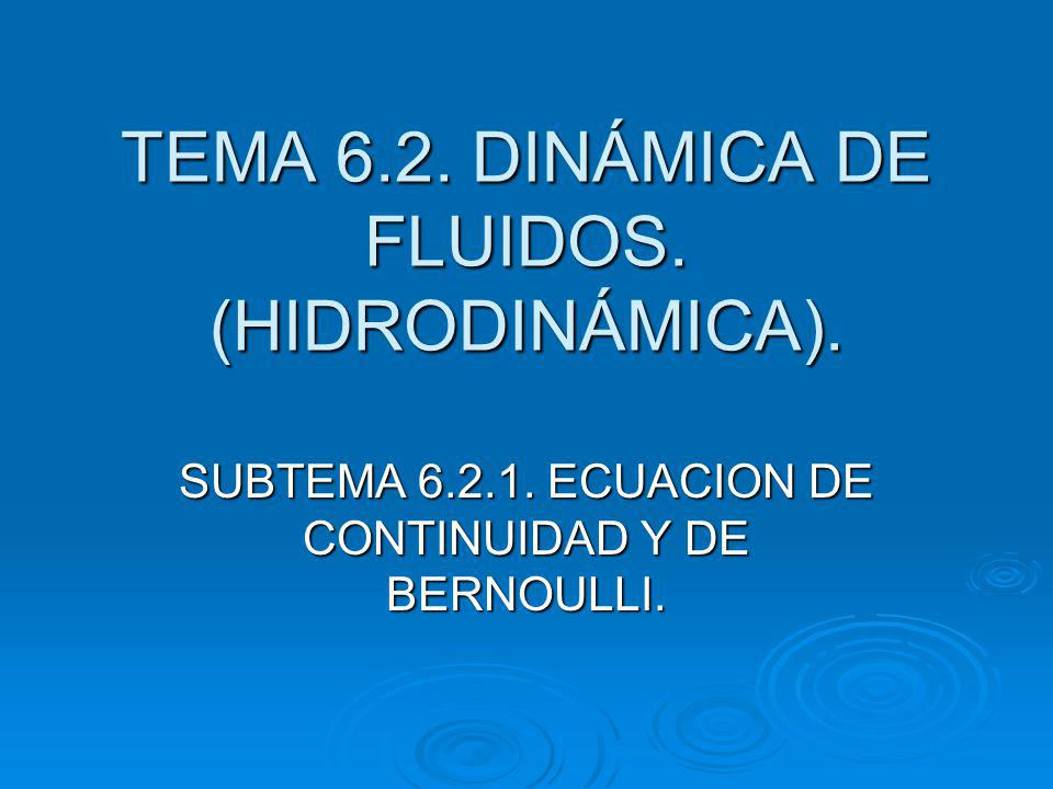 TEMA 6.2. DINÁMICA DE FLUIDOS. (HIDRODINÁMICA).