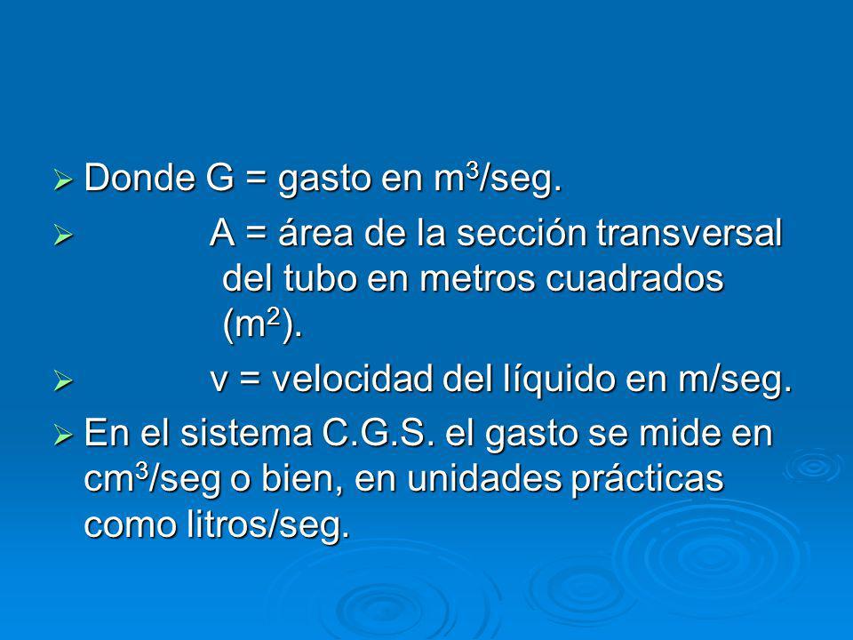 Donde G = gasto en m3/seg. A = área de la sección transversal del tubo en metros cuadrados (m2).