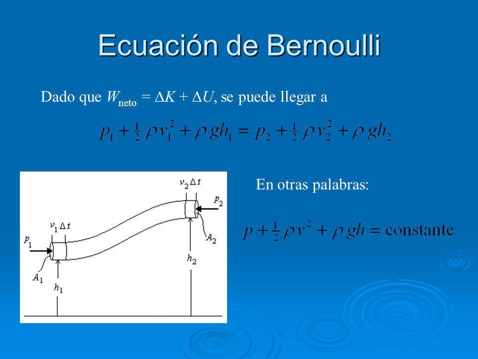 Ecuación de Bernoulli Dado que Wneto = DK + DU, se puede llegar a