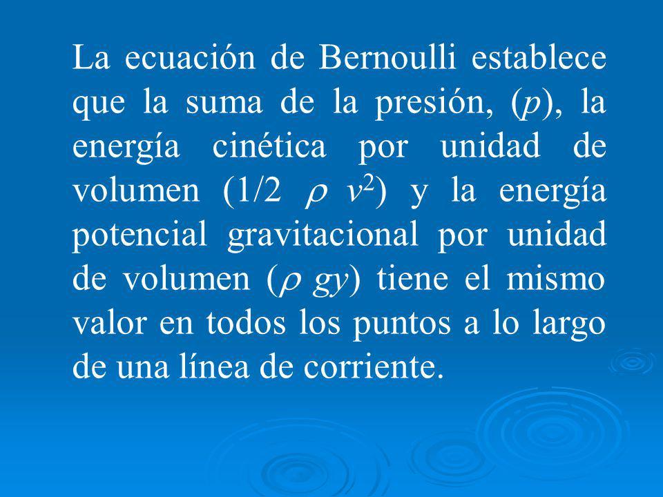 La ecuación de Bernoulli establece que la suma de la presión, (p), la energía cinética por unidad de volumen (1/2 r v2) y la energía potencial gravitacional por unidad de volumen (r gy) tiene el mismo valor en todos los puntos a lo largo de una línea de corriente.