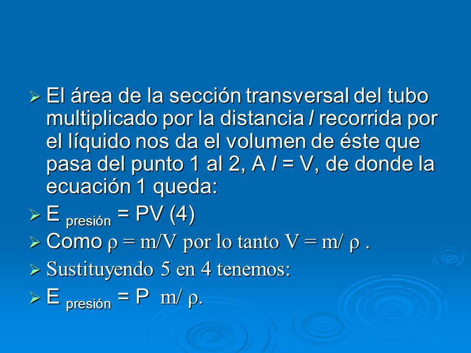 El área de la sección transversal del tubo multiplicado por la distancia l recorrida por el líquido nos da el volumen de éste que pasa del punto 1 al 2, A l = V, de donde la ecuación 1 queda: