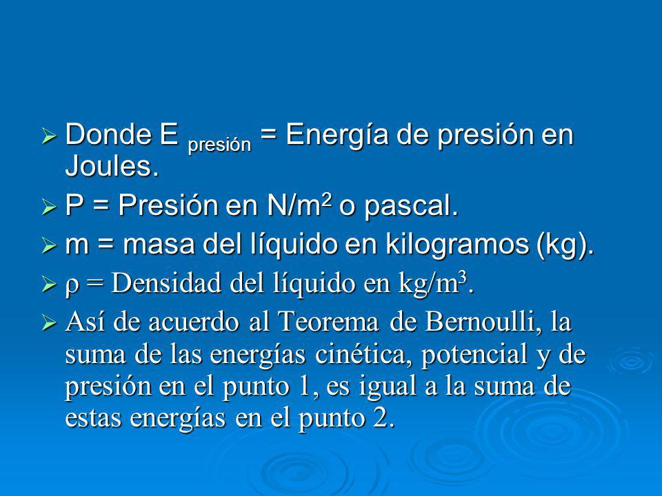 Donde E presión = Energía de presión en Joules.