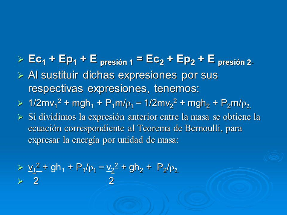 Ec1 + Ep1 + E presión 1 = Ec2 + Ep2 + E presión 2-
