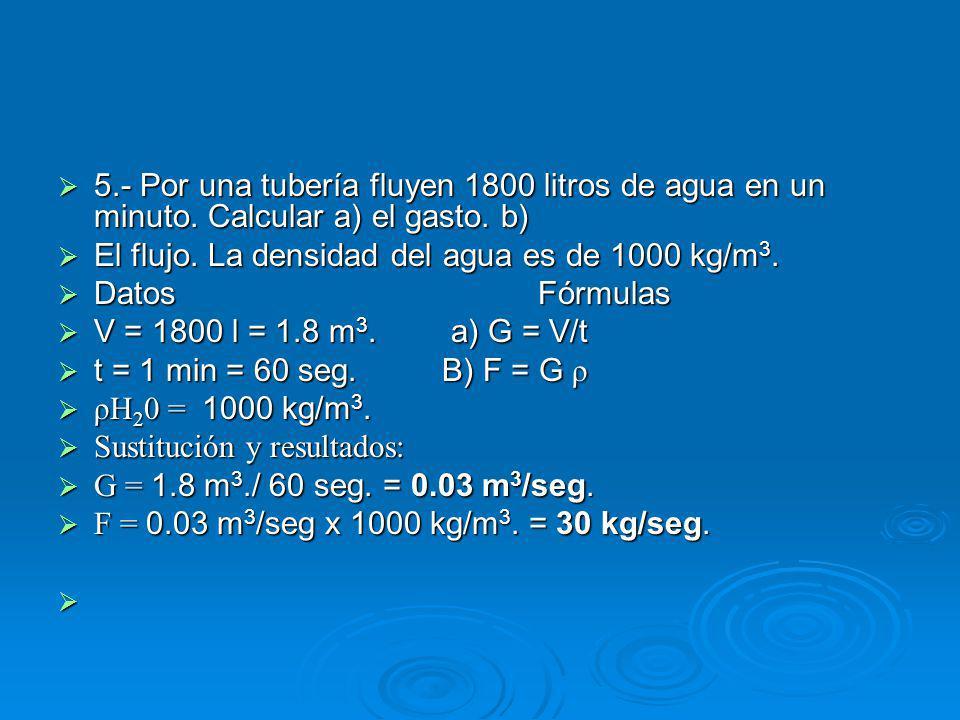 5. - Por una tubería fluyen 1800 litros de agua en un minuto