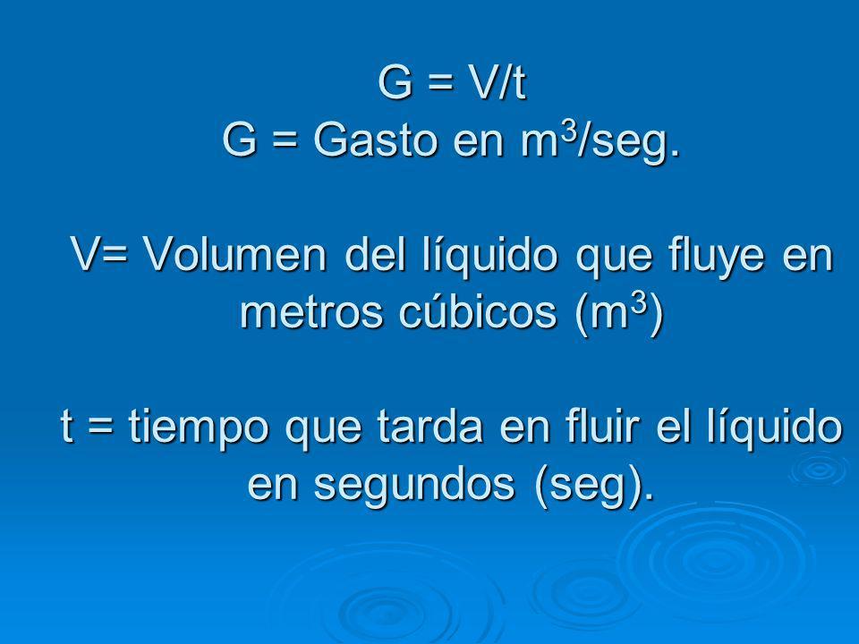 G = V/t G = Gasto en m3/seg.