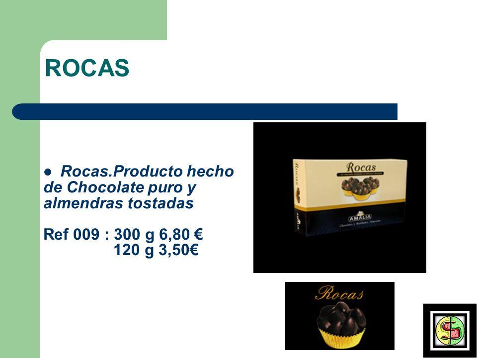 ROCAS Rocas.Producto hecho de Chocolate puro y almendras tostadas