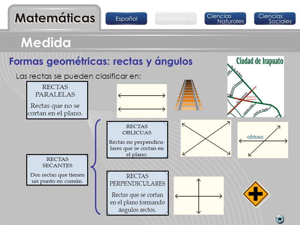 Medida Formas geométricas: rectas y ángulos