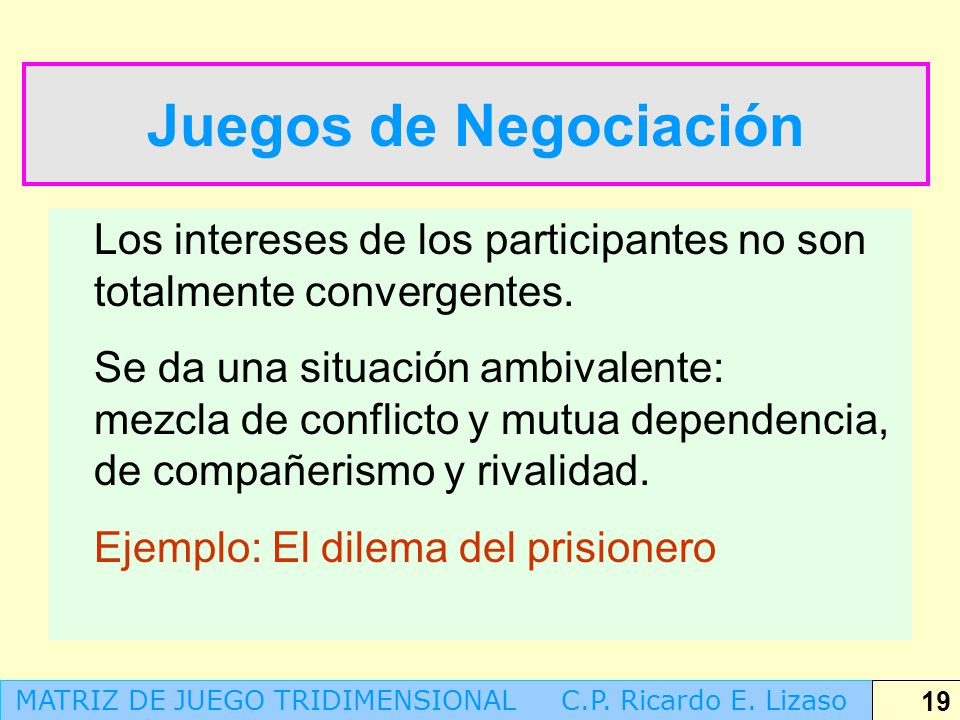 Juegos de Negociación Los intereses de los participantes no son totalmente convergentes.