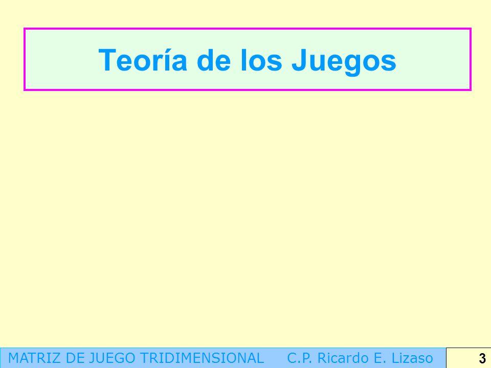 Teoría de los Juegos MATRIZ DE JUEGO TRIDIMENSIONAL C.P. Ricardo E. Lizaso 3