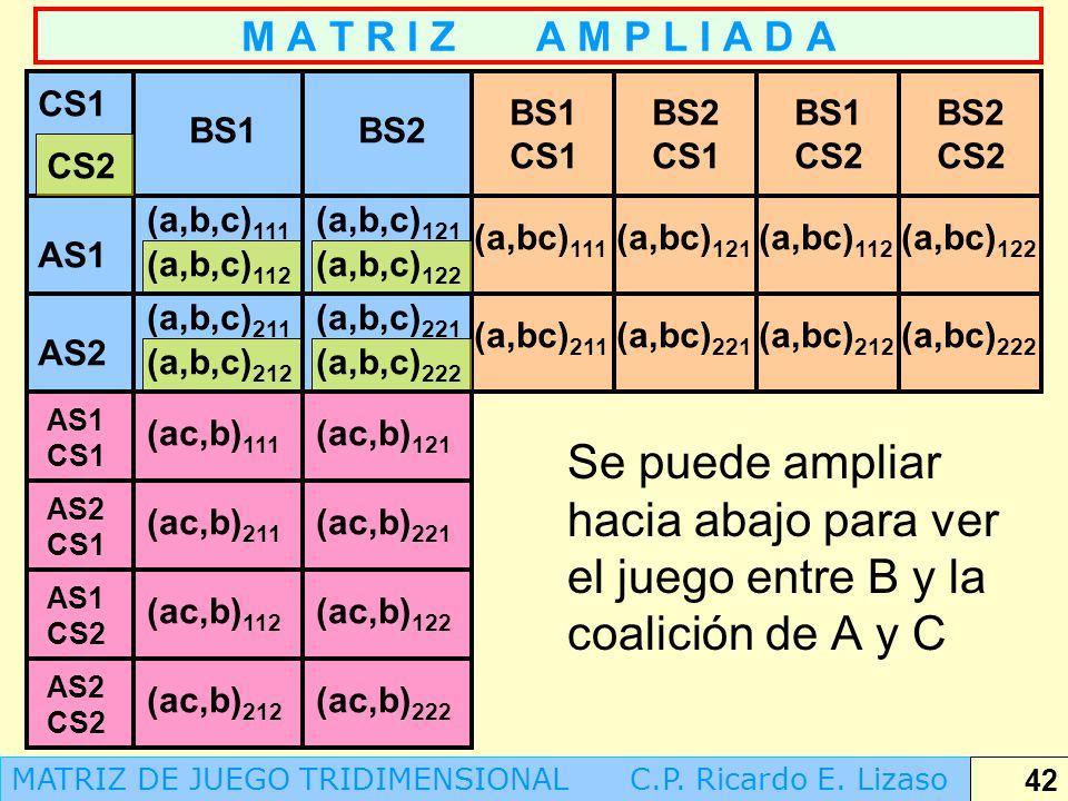 M A T R I Z A M P L I A D A CS1. BS1 CS1. BS2 CS1. BS1 CS2. BS2 CS2. BS1. BS2. CS2. (a,b,c)111.