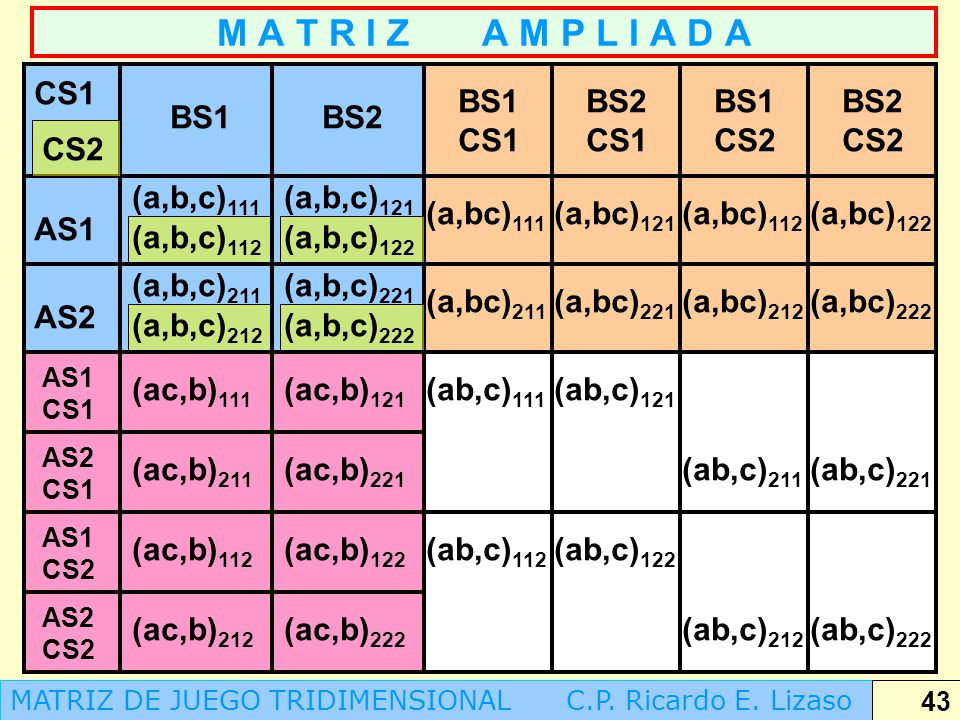 M A T R I Z A M P L I A D A CS1 BS1 CS1 BS2 CS1 BS1 CS2 BS2 CS2 BS1