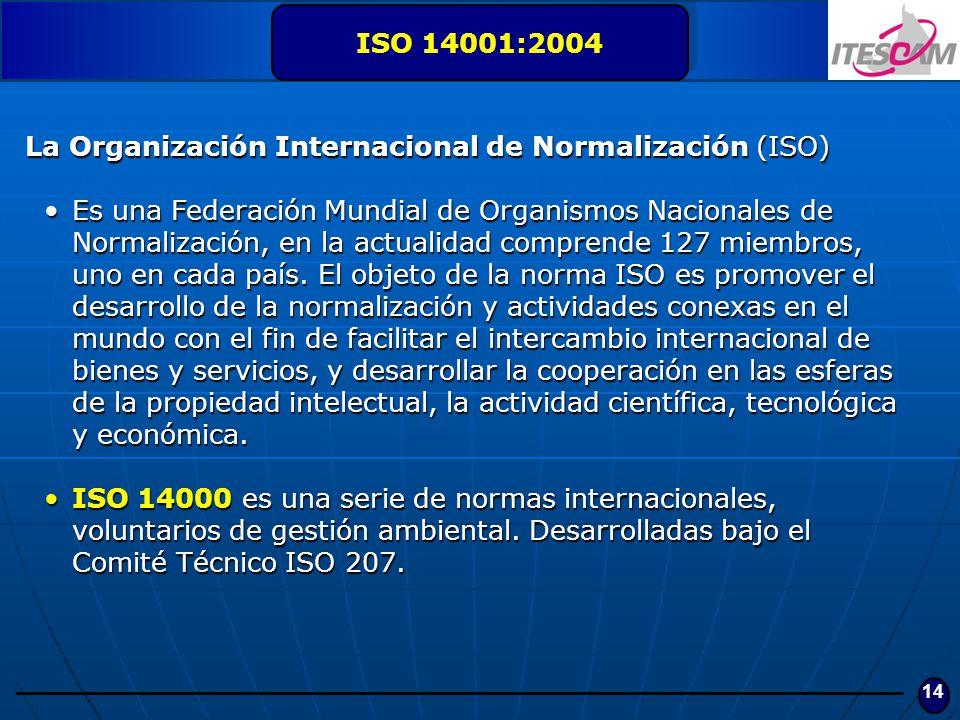 ISO 14001:2004 La Organización Internacional de Normalización (ISO)