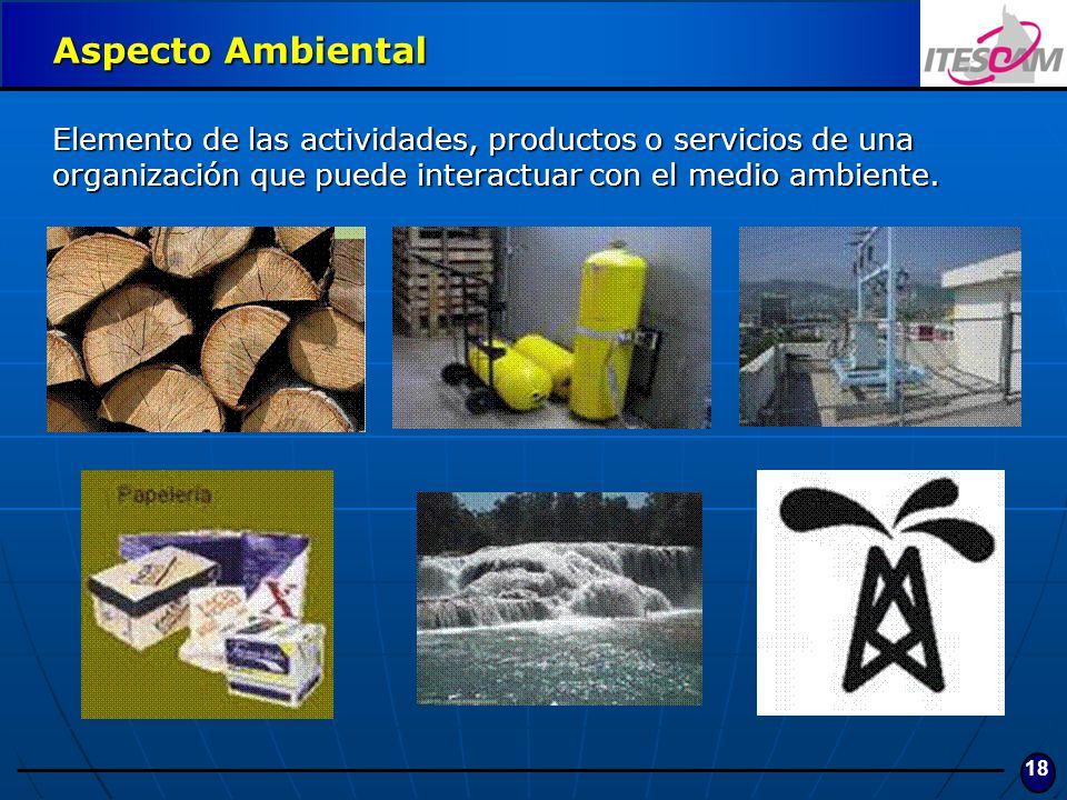 Aspecto Ambiental Elemento de las actividades, productos o servicios de una organización que puede interactuar con el medio ambiente.
