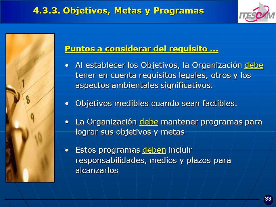 4.3.3. Objetivos, Metas y Programas
