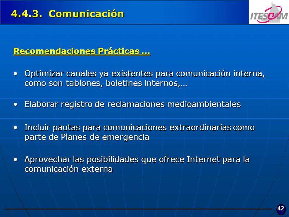 4.4.3. Comunicación Recomendaciones Prácticas ...